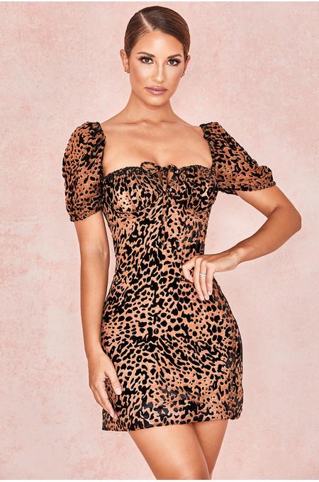 Athena Black Tan Bardot Bodice Mini Dress