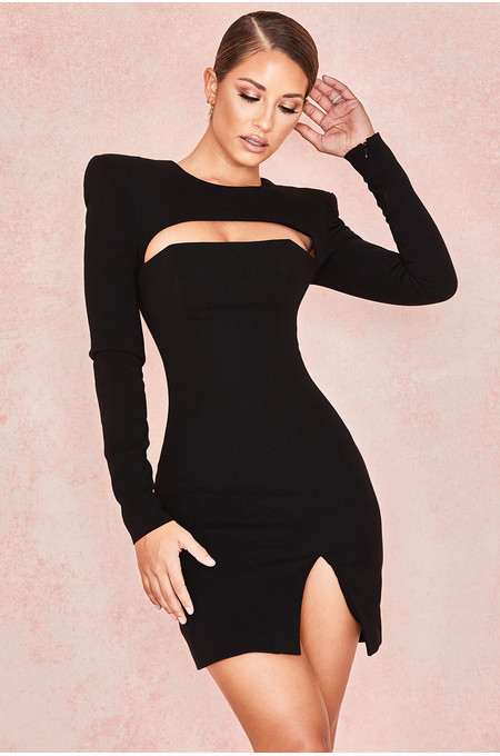 Briana Black Slash Neck Crepe Dress