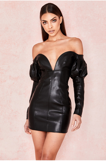 Clarita Black Vegan Leather Puff Sleeve Dress