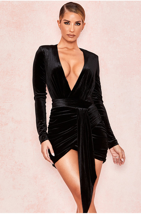Farrah Black Velvet Gathered Deep V Mini Dress