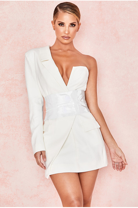 Febe White Crepe One Sleeved Tuxedo Dress