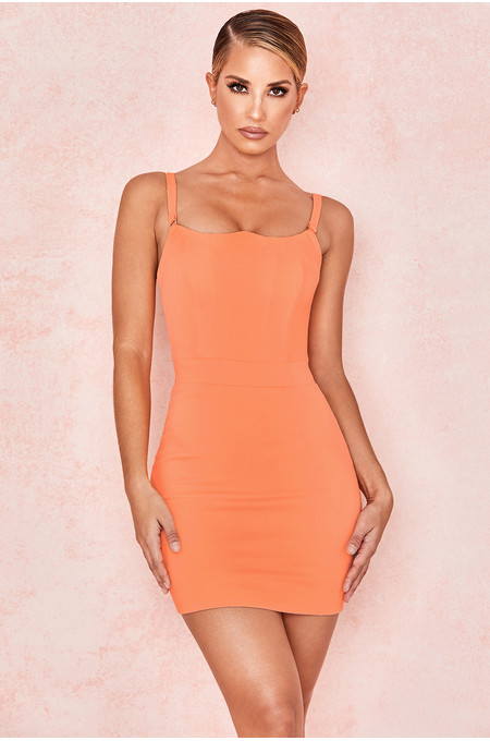 Issa Neon Peach Crepe Bodice Mini Dress