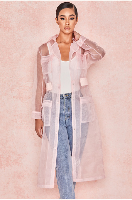 Juliette Pink Sheer Organza Trench Coat