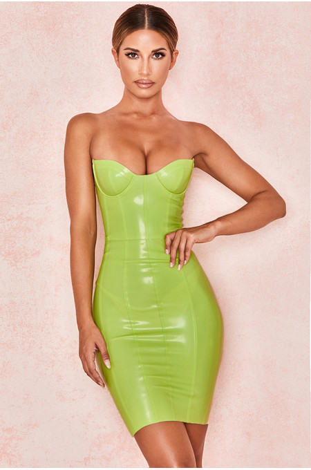 Lexii Lime Green Bustier Latex Dress Lime Green Bustier Latex Dress