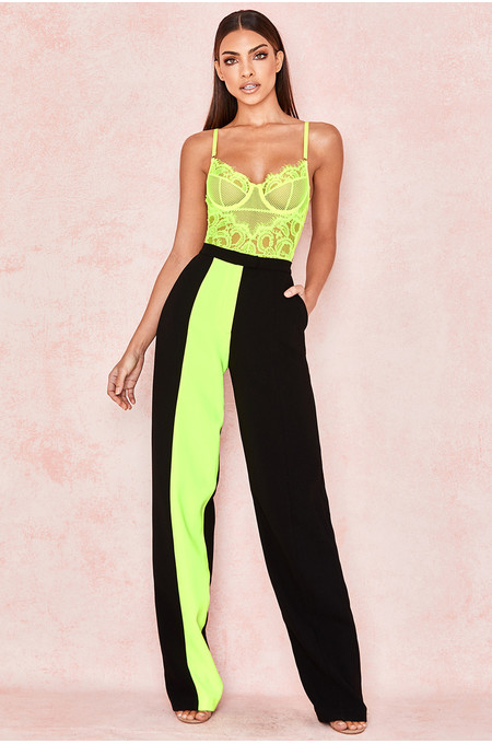 Ivey Neon Yellow Colour Block Trousers