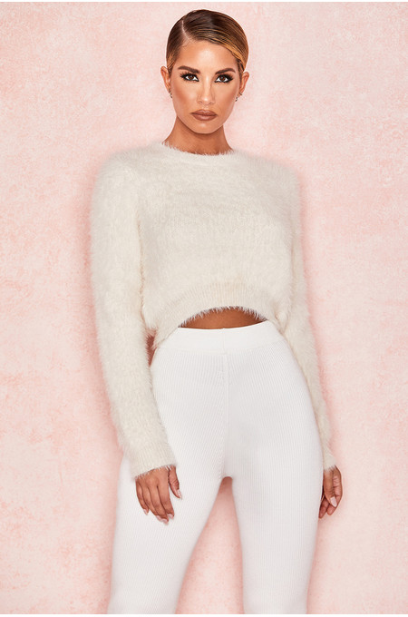 Noemie Cream Cropped Soft Mohair Sweater