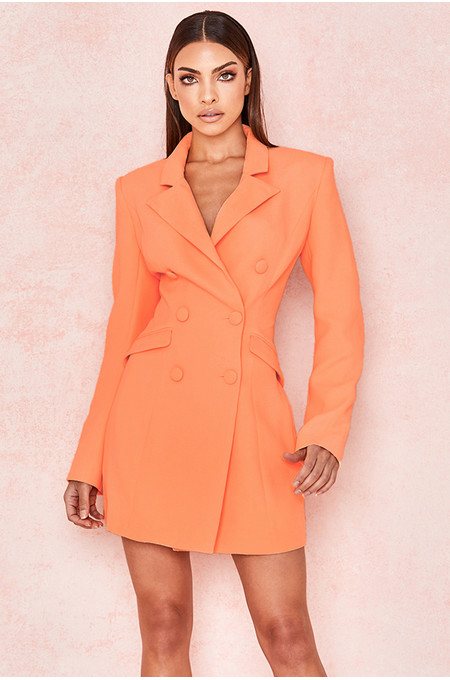 Raven Orange Crepe Blazer Dress