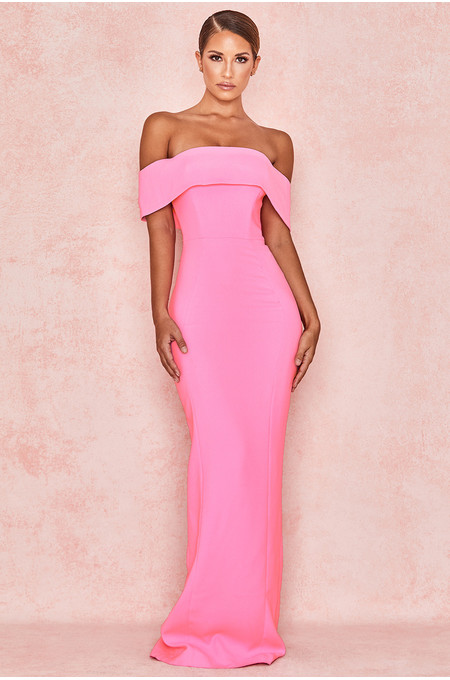 Shelby Pink Crepe Off Shoulder Column Maxi Dress