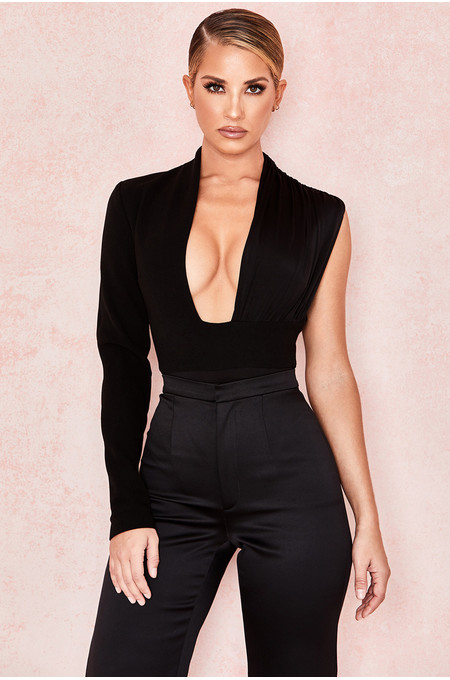 Skye Black One Sleeved Draped Bodysuit