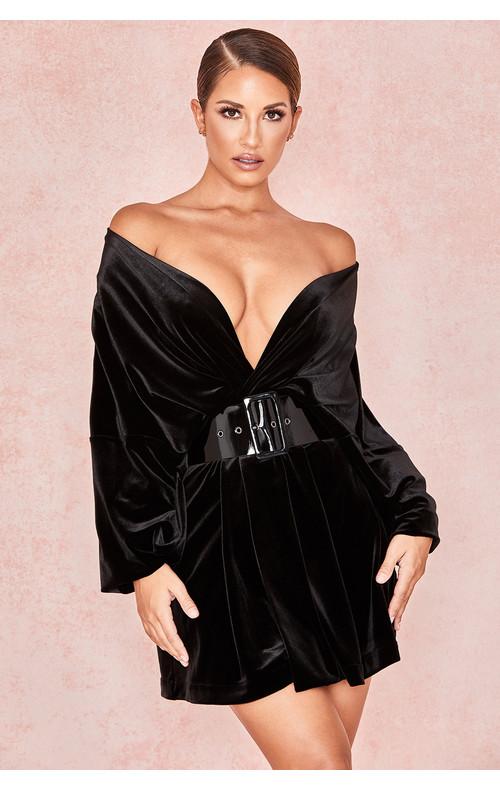 Amber Black Oversized Shirt Dress
