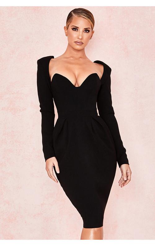 Faith Black Long Sleeved Crepe Dress