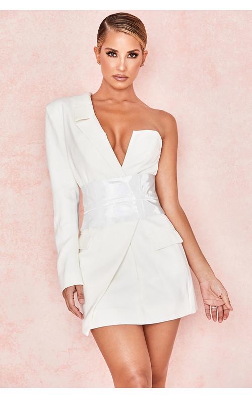 Febe White Crepe One Sleeved Tuxedo Dress