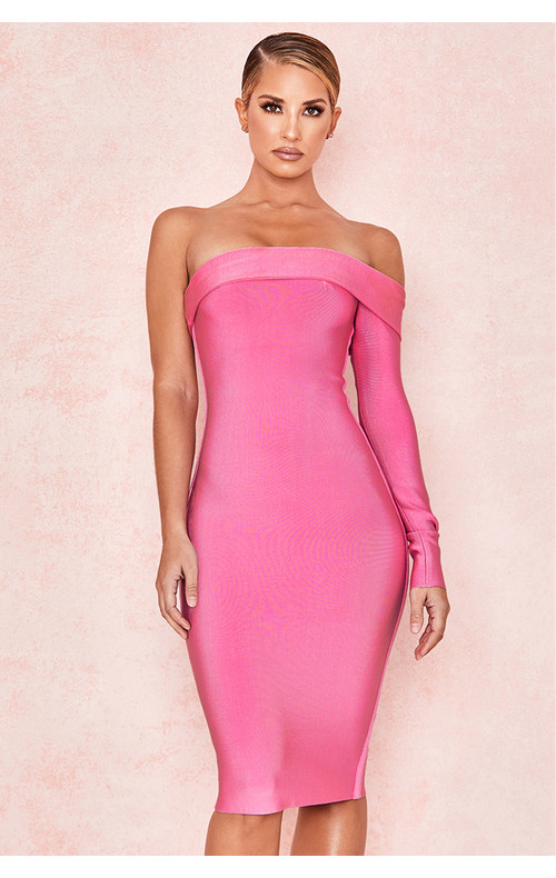 Nadine Pink Bandage One Shoulder Dress
