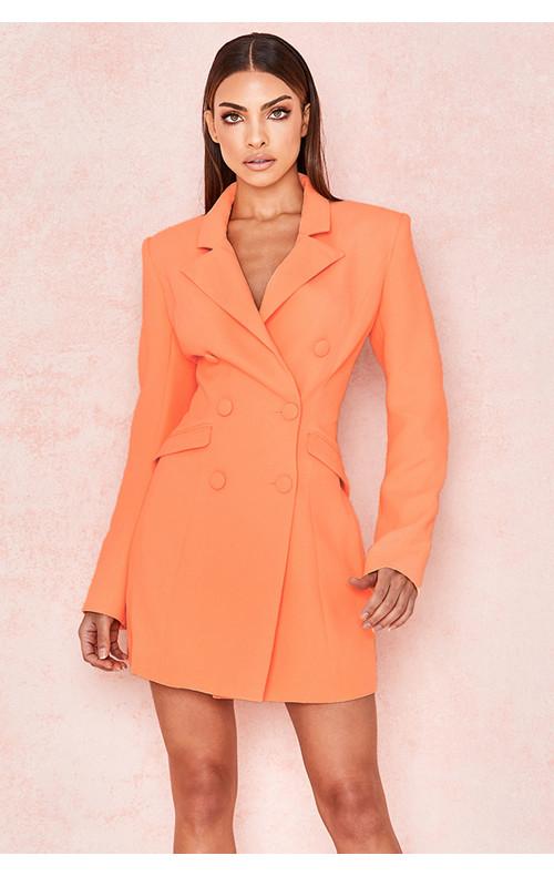 Raven Orange Crepe Blazer Dress