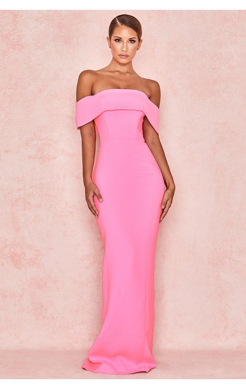 Shelby Pink Crepe Off Shoulder Column Maxi Dress