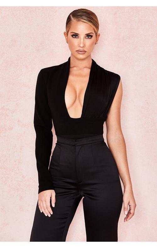 Skye Black One Sleeved Draped Bodysuit