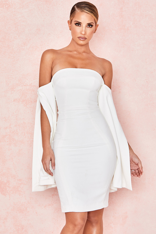Rhea White Strapless Slit Sleeve Dress