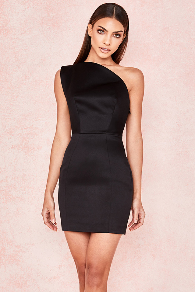 Ayelen Black Duchess Satin One Shouldered Mini Dress