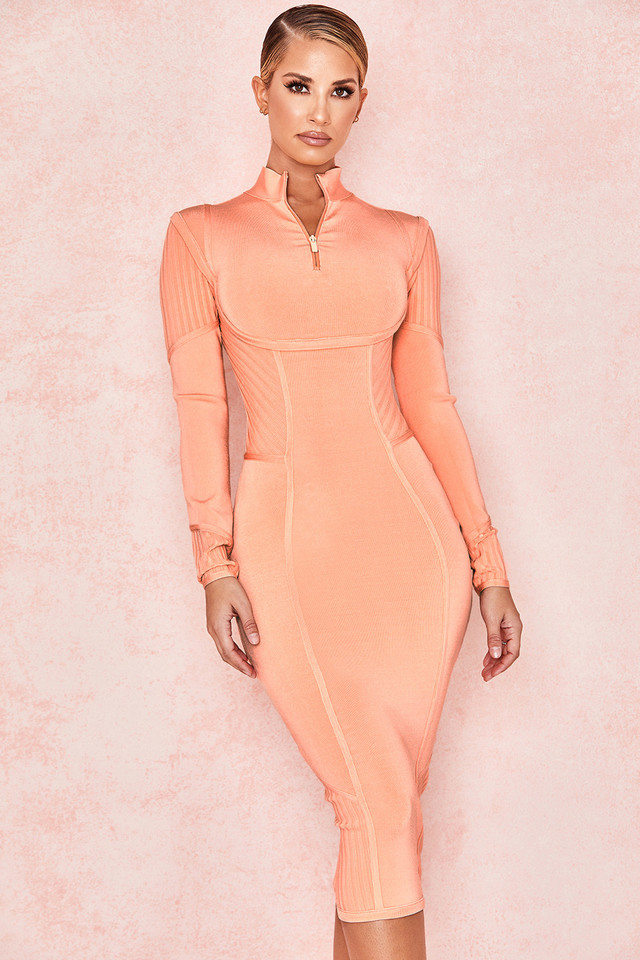 Dana Sorbet Orange Bandage Midi Dress