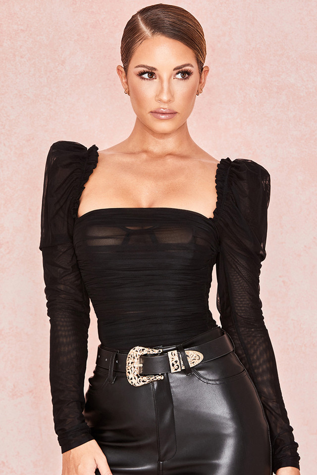 Emme Black Ruched Chiffon Puff Sleeve Bodysuit