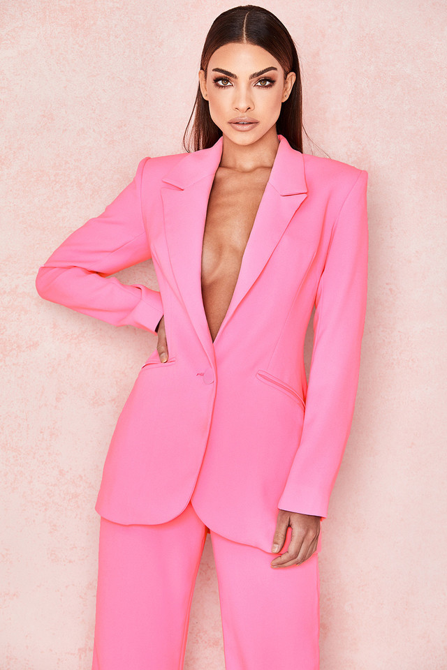Gabri Pink Crepe Tailored Blazer