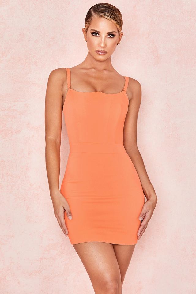 Issa Neon Peach Crepe Bodice Mini Dress