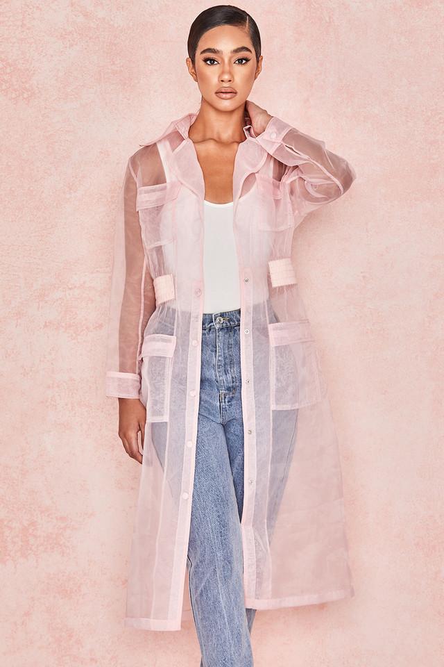 Juliette Pink Sheer Organza Trench Coat