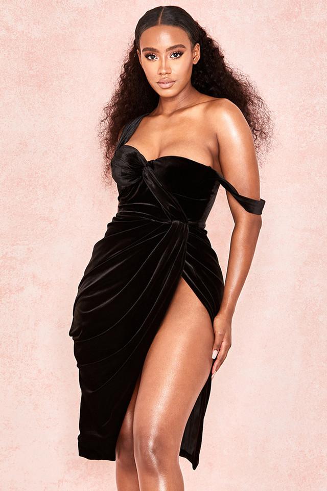 Petronella Black Velvet Corset Bodice Dress