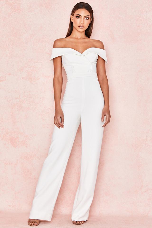 Rissa White Crepe Bardot Jumpsuit