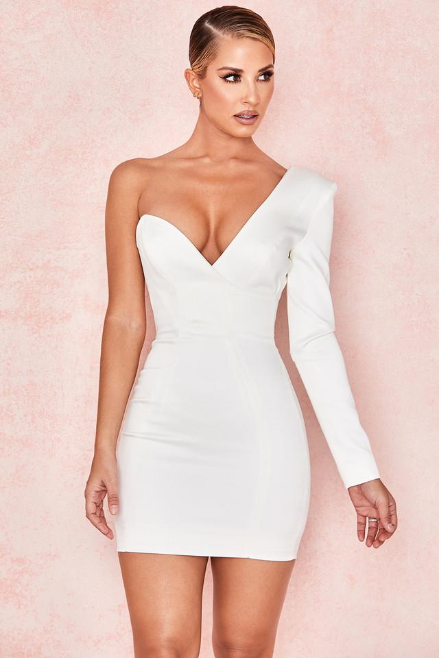 Tiffany White One Shouldered Mini Dress
