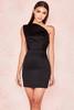 Ayelen Black Duchess Satin One Shouldered Mini Dress