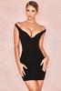 Jeanine Black Crepe Deep Plunge Mini Dress
