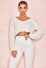 Romy Off White Chenille V Neck Sweater