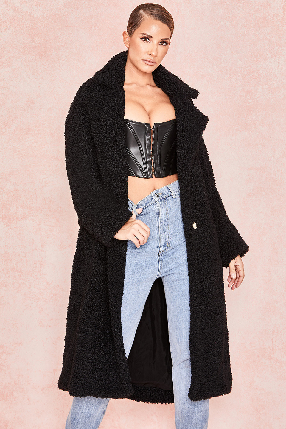 Bear Black Faux Fur Sherpa Coat