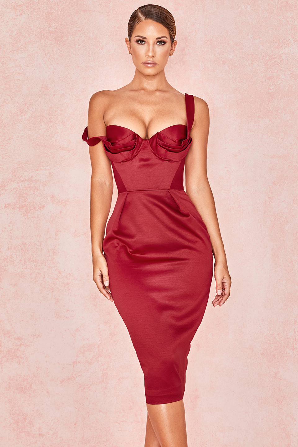 Charlotte Wine Satin Draped Bustier Dress