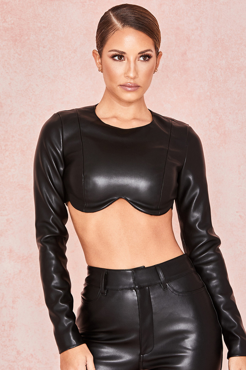 Esme Black Vegan Leather Shaped Bust Top