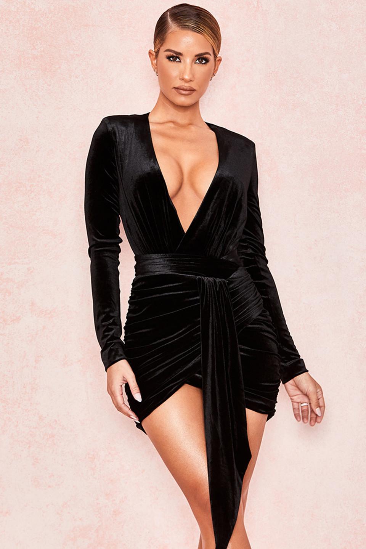 Farrah Black Velvet Gathered Deep V Mini Dress