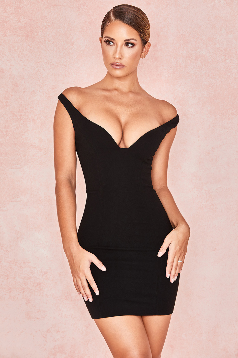 Jeanine Black Crepe Deep Plunge Mini Dress