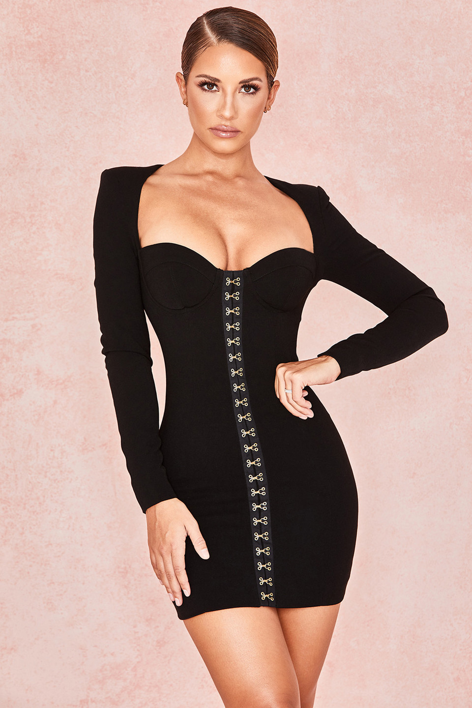 Lala Black Long Sleeve Bodice Dress