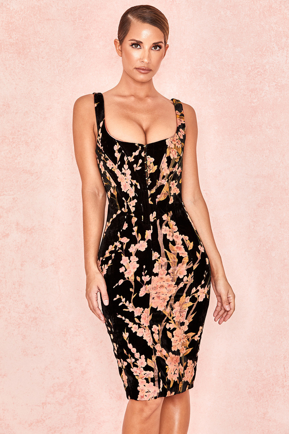 Lexi Black Floral Devore Velvet Corset Dress