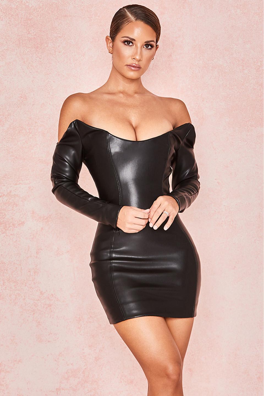 Livia Black Vegan Leather Shaped Shoulder Dress