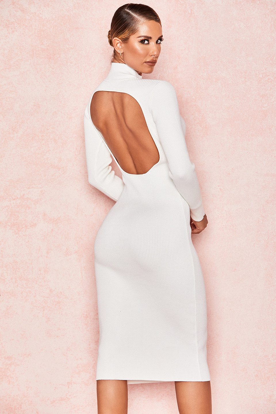 Raphaelle White Rib Knit Backless Midi Dress