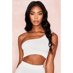 Bella White Knitted One Shoulder Top