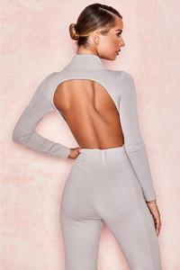 Pixie Grey Fine Knit Backless Bodysuit