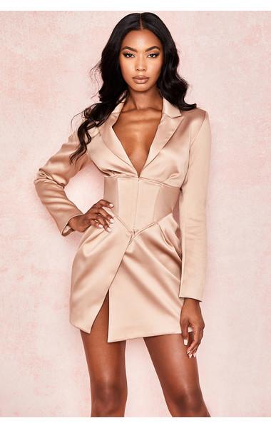 Allonia Champagne Satin Corset Tux Dress