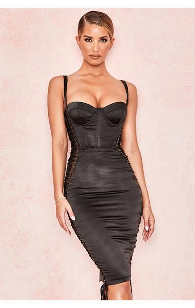 Angelina Black Satin Lace Up Corset Dress
