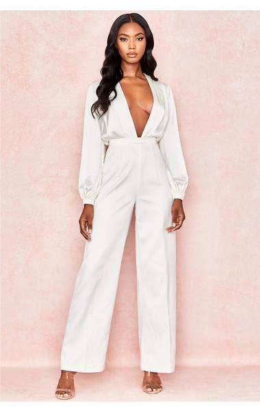 Angelique White Satin Wide Sleeve Jumpsuit