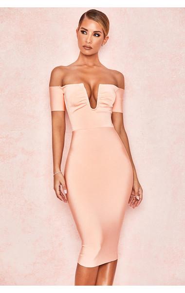 Celia Peach V Wire Bandage Dress