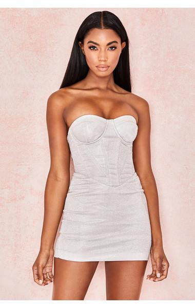 Eevi Silver Sparkle Corset Dress