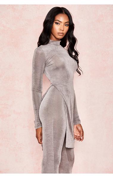 Marii Grey Silky Jersey Side Slit Top